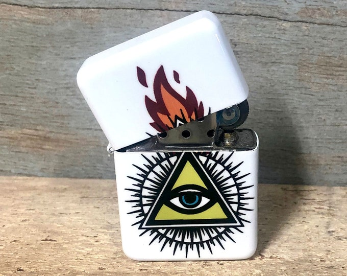 Eye of providence Illuminati flip lighter, Gift for Him, Groomsmen, Bachelors, Fathers Day