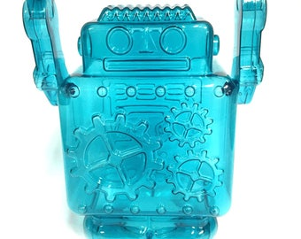 Robot Coin Bank made of molded blue plastic, perfect gift for kids of any sci fi lover.