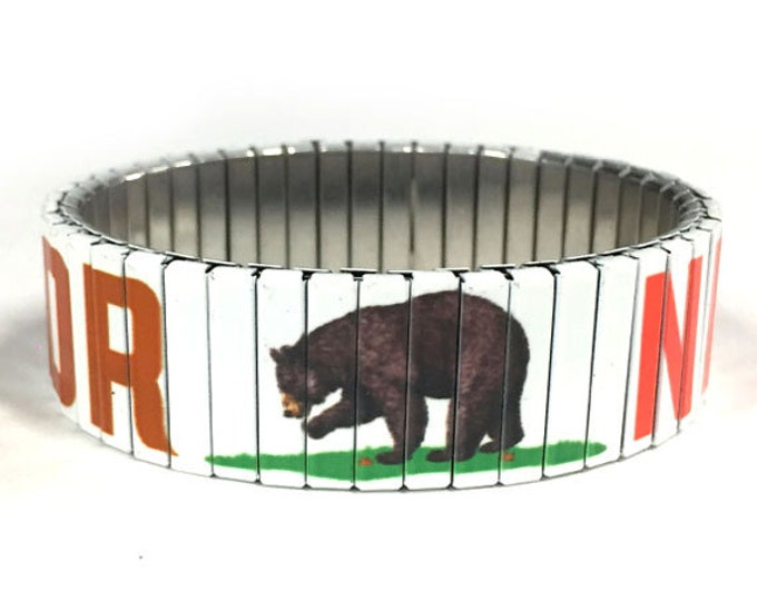 California bear stretch bracelet, California flag, Repurpose Watch Band, Sublimation, Stainless Steel, Wrist Band, gift for friends