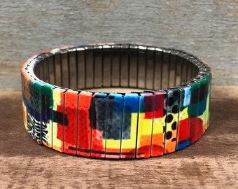 Wrist-Art, Paper collage art, stretch bracelet