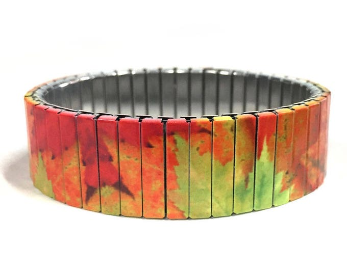 FALL LEAVES stretch bracelet, Maple leaf, Repurpose Watch Band, Sublimation, Stainless Steel, Wrist Band, gift for friends