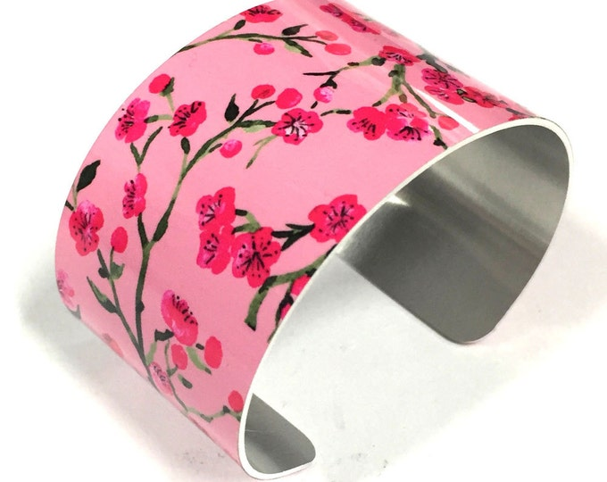 Cuff Bracelet CHERRY BLOSSOM, Pink, Aluminum, Jewelry, Customizable, Sublimation, gift for friends
