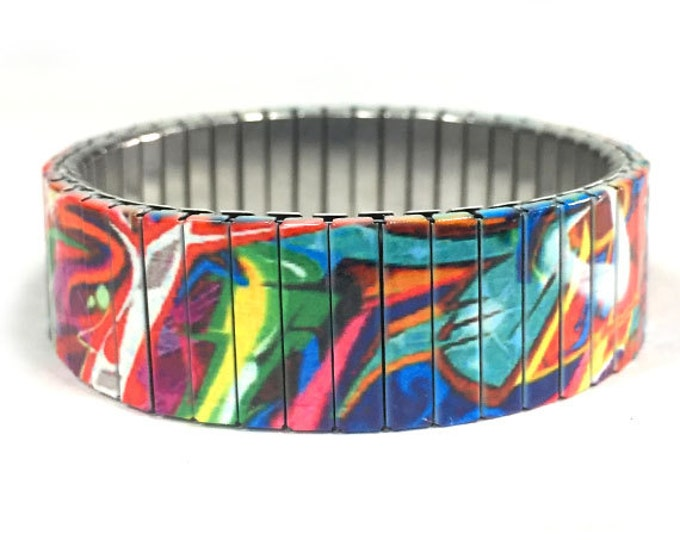 20 Graffiti art stretch bracelet, Urban Art, Stainless Steel, Repurpose Watch Band, Wrist Band, Sublimation, gift for friends