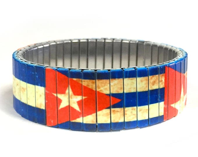 Cuban flag stretch bracelet made of repurposed stainless steel watch band