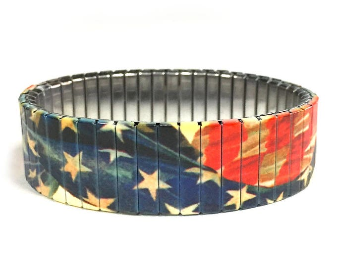 Aged USA flag stretch bracelet, United States, patriotic Repurpose watch band, Sublimation, Stainless Steel, Wrist Band, gift for friend