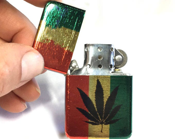 Flip lighter-Rastafarian-Pot leaf-Marijuana-Sublimated-Retro-Cigar-Gift for Him-Groomsmen-Bachelors-Fathers Day