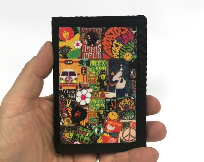 Canvas tri fold Wallet 60's hippie Peace and Love Sublimation Gift for Friend
