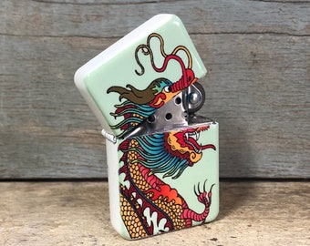 Dragon flip lighter, Gift for Him, Groomsmen, Bachelors, Fathers Day