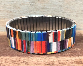 Wrist-Art stainless steel stretch bracelet, Decoupage design