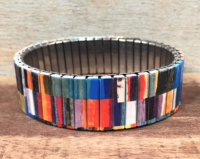 Wrist-Art stainless steel stretch bracelet, Decoupage design
