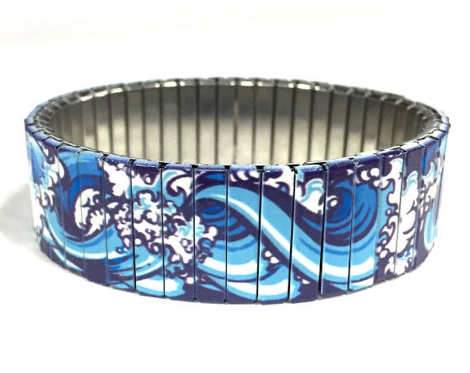 Blue waves stretch bracelet, Surfer, Repurpose watch band, Sublimation, Stainless Steel, Wrist Band, gift for friends