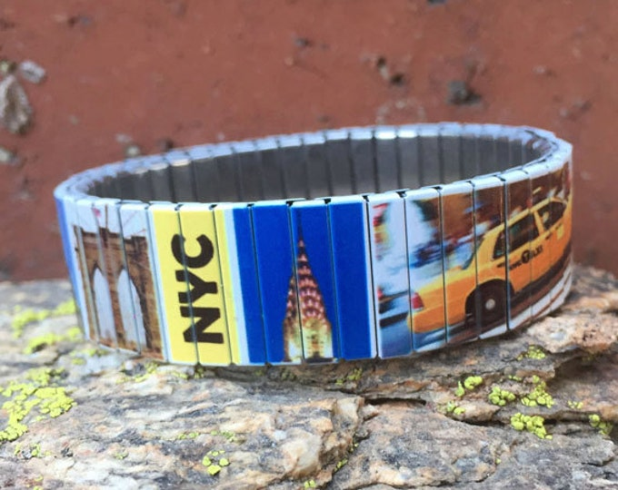 New York stretch bracelet, New York, NYC, Sublimation, Repurpose watch band, Stainless Steel, Wrist Band, gift for friends