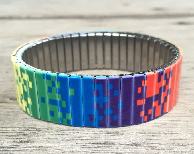 Stretch Bracelet PIXEL ART Stainless Steel, Repurpose Watch Band Wrist Band Sublimation gift for friends