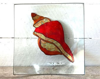 Glass dish, seashell, sandblasted and carved, painted, foil leaf, gift for friends