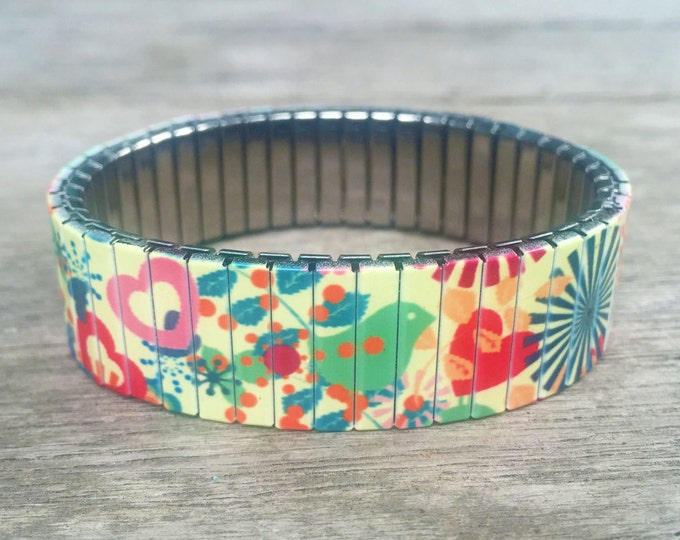 Stretch bracelet SUNBURST, Hearts and Birds, Repurpose Watch Band, Sublimation, Stainless Steel, Wrist Band, gift for friend