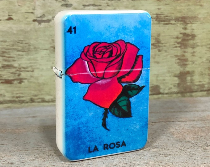 La Rosa Lotería sublimated Old school Flip lighter