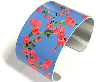 Cuff Bracelet CHERRY BLOSSOM, Blue, Aluminum, Jewelry, Customizable, Sublimation, gift for friends