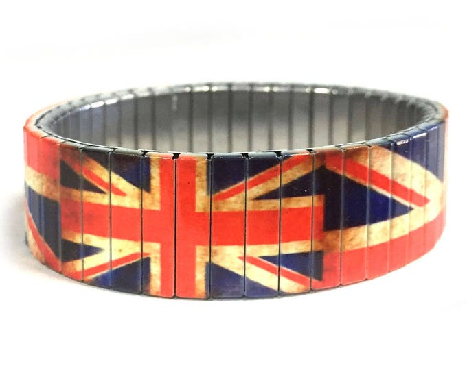 Aged British flag bracelet made of repurposed stainless steel watch band