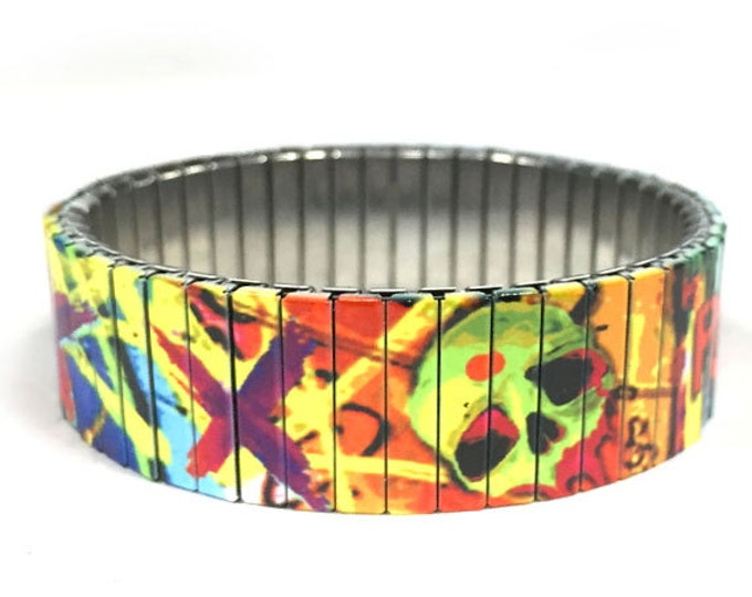 Squad graffiti stretch bracelet made of repurposed stainless steel watch band