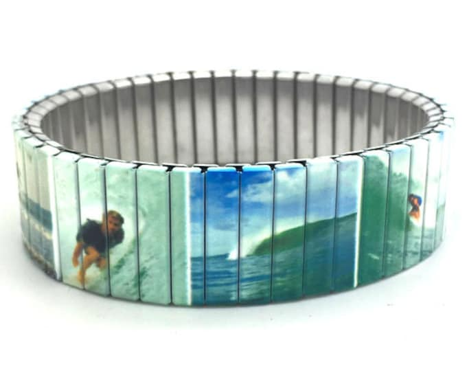 Stretch Bracelet WAVE SURFING Surf Art Surfboard Repurposed watch band Sublimation Stainless Steel Wrist Band, gift for