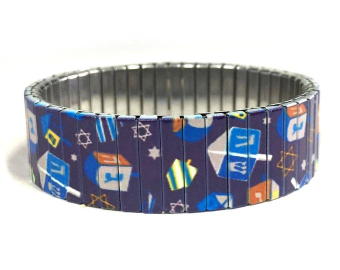Dreidels stretch bracelet, Hanukkah, Jewish Holiday, Repurpose Watchband, Sublimation, Stainless Steel, gift for friends
