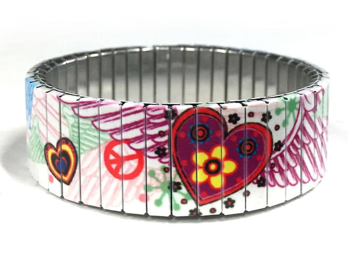 Winged hearth stretch bracelet, Stainless Steel, Repurpose Watch Band, Wrist Band, Sublimation, gift for friends