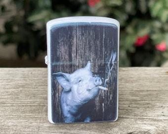 Smoking pig sublimated Old school Flip lighter