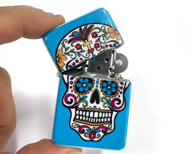 Sugar Skull flip Lighter Dios de la muerte Sublimated Cigar Gift for Him Groomsmen Bachelors Fathers Day