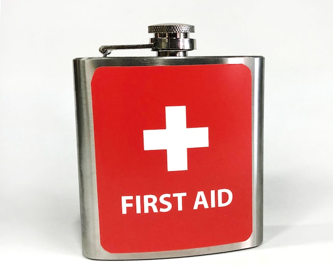 Flask 6oz, First Aid, customizable, Stainless Steel, groomsmen gift, gift for friends or yourself novelty