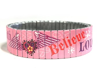 Pink love and believe stretch bracelet made of repurposed stainless steel watch band