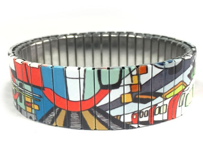 Metro Art stretch bracelet, Subway, graffiti ,Train, Stainless Steel, watch band Wrist Band, Sublimation, gift for friend