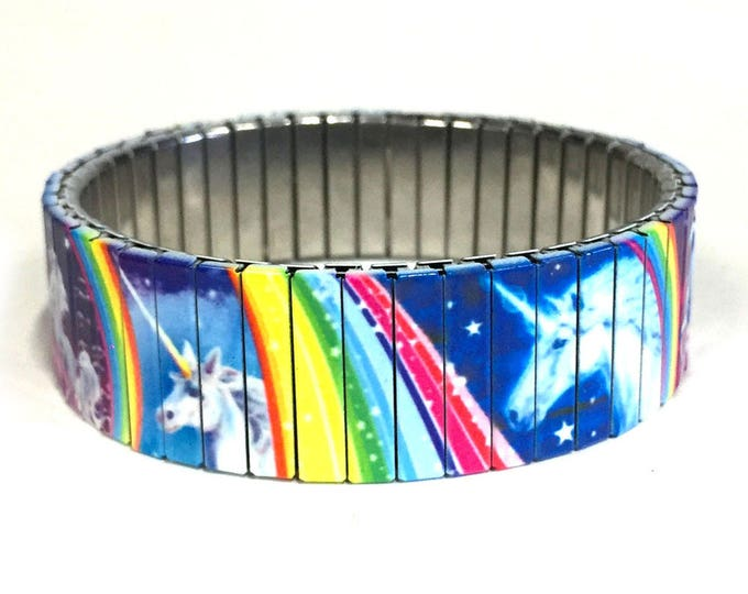 Unicorn rainbow stretch bracelet made of repurposed stainless steel watch band