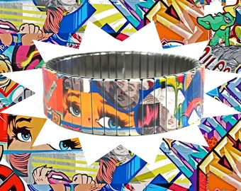 Comic Strip stretch bracelet, Graffiti, Urban Art, Stainless Steel, Repurpose Watch Band, Sublimation, gift for friends