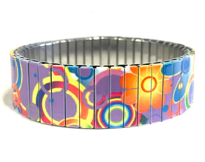 Stretch bracelet FLOWER POWER, Purple, Stainless Steel, Repurpose Watch Band, Wrist Band, Sublimation, gift for friends