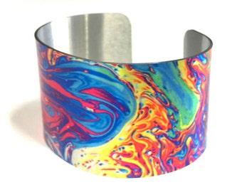 Aluminum Cuff Bracelet Oil slick design, gift for her