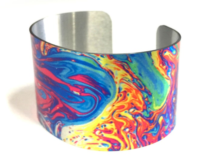 Aluminum Cuff Bracelet Oil slick design, gift for her