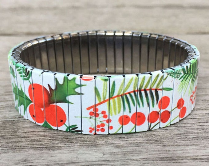 Bracelet POINTSETTIA, Stretch Bracelet, Repurpose watch band, Sublimation, Stainless Steel, Wrist Band, gift for the holiday