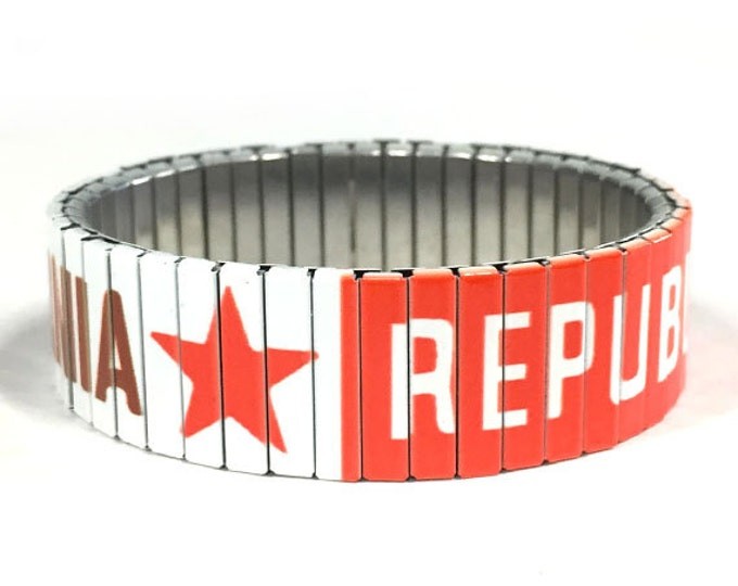 California Flag stretch bracelet, California, Sublimation, Repurpose Jewelry, Stainless Steel, Wrist Band, gift for friend