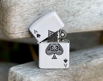 Ace of Spade flip lighter, Gift for Him