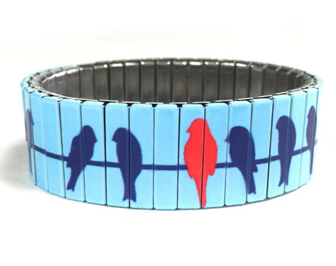 Birds on a wire stretch bracelet made of stainless steel repurposed watch band