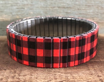 Buffalo plaid red and black stretch bracelet Repurpose Watch Band, Sublimation, Stainless Steel, Wrist Band, gift for friend