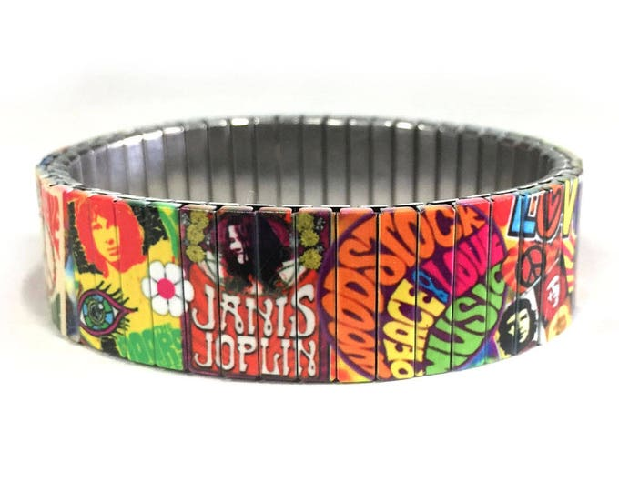 Hippie 60s stretch bracelet Woodstock Peace and Love Wrist Art Sublimation Stainless Steel 70s birthday