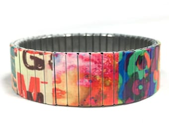 Patchwork stretch bracelet, Quilt, Repurpose Watch Band, Sublimation, Stainless Steel, Wrist Band, gift for friend
