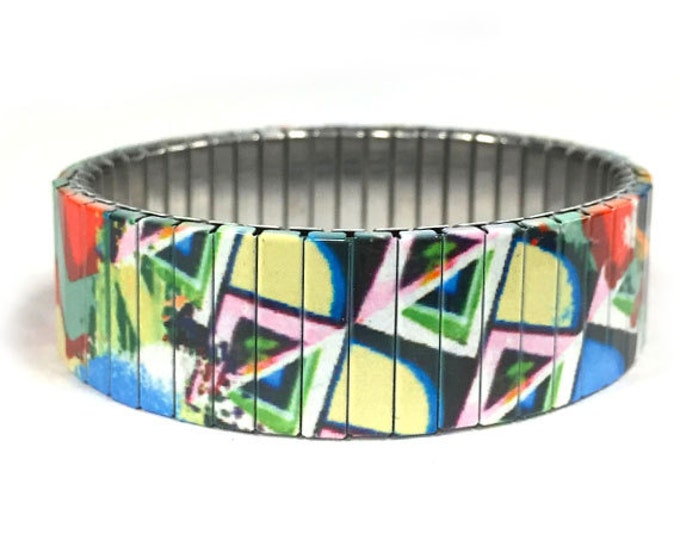 Cubist art stretch bracelet-Cubist  Art-Abstract-Sublimation-Stainless Steel-gift for friend-gift for her-11th anniversary