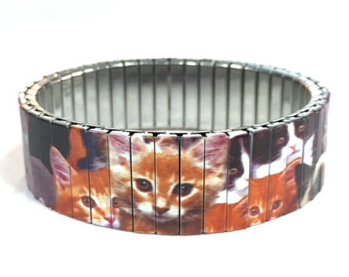 Cat lover stretch bracelet, Cats, Kittens Repurpose Watch Band Sublimation Stainless Steel Wrist Band gift for friends