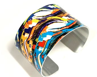 Cuff Bracelet-Black and White-Cuff-Droplet-Aluminum-bracelet-Sublimation-gift for women-gift for friend-Unisex