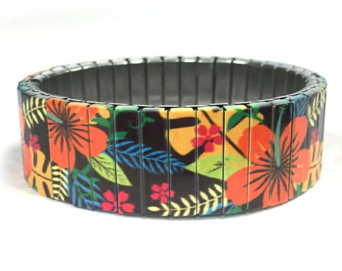 Stretch steel bracelet, Hibiscus, Hawaiian, Repurpose Watch Band, Sublimation, Stainless Steel, gift for friends