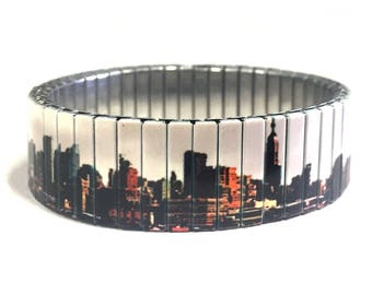 Stretch bracelet New York Skyline, New York, Repurpose watch band, Sublimation, Stainless Steel, gift for friends