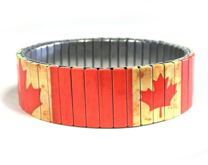 Canadian flag stretch bracelet, Aged, England, Repurpose watch band, Sublimation, Stainless Steel, Wrist Band, gift for friend
