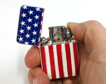 USA Flag flip Lighter Retro Americana Patriotic Sublimated Cigar Gift for Him Groomsmen Bachelors Fathers Day